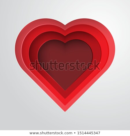 red papercut style white heart background design Stock photo © SArts