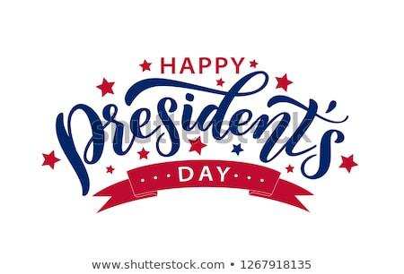 Amerikai zászló szöveg boldog nap repülés kék Stock fotó © nito