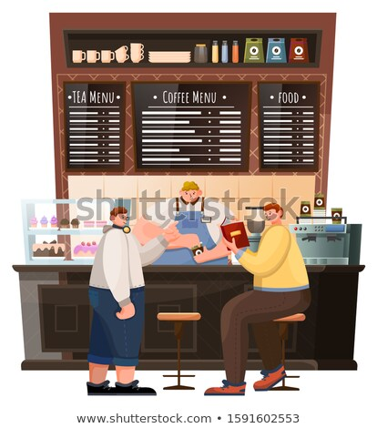 Coffeehouse Interior View, Men and Barista Vector Stock photo © robuart