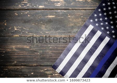 Amerikaanse politie vlag vintage houten dun Stockfoto © enterlinedesign