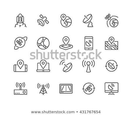 Satelliet icon schets illustratie vector teken Stockfoto © pikepicture