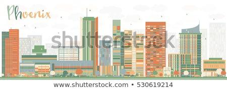 Abstrato phoenix linha do horizonte cor edifícios Foto stock © ShustrikS