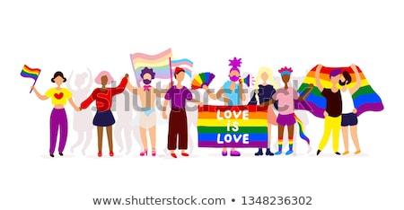 Lesbische homo paar icon symbool witte Stockfoto © evgeny89
