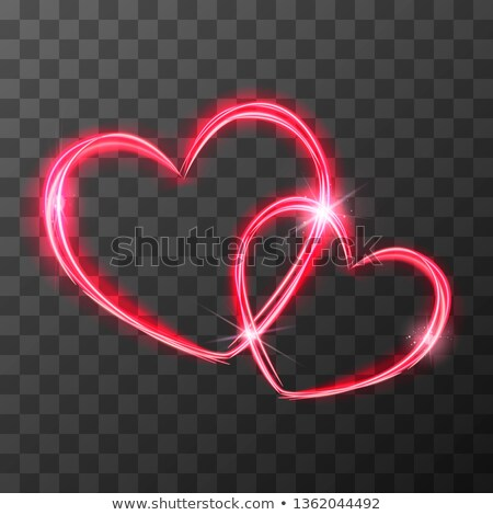 Red light traces in two crossed hearts shape with magic light and sparkles, love concept on transpar Stock photo © evgeny89