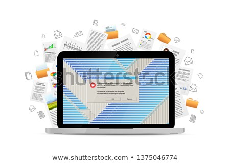Opened laptop with lots of critical errors messages and many office documents flying away on backgro Stock photo © evgeny89