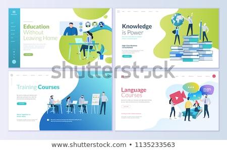 Leszállás oldal sablon online oktatás modern Stock fotó © natali_brill