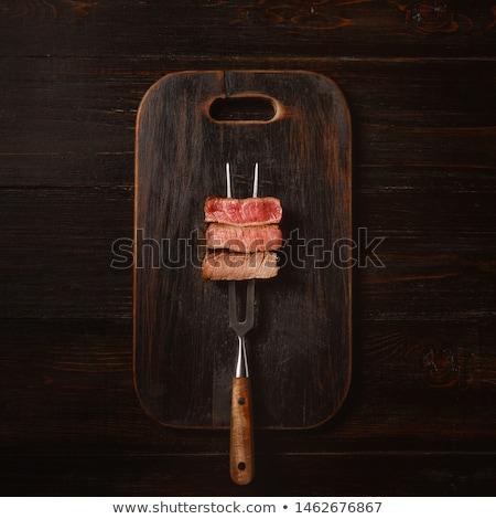 Sulu biftek nadir sığır eti yeşil salata Stok fotoğraf © grafvision