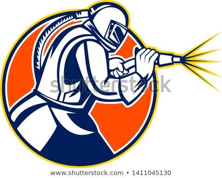 Sandblaster Glass Bead Blasting  Abrasive Sand Blasting Circle Mascot Black and White Stock photo © patrimonio