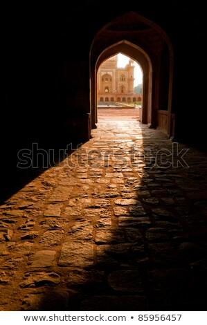 Stockfoto: Safdarjungs Tomb Central Entrance At Evening Sunlight India
