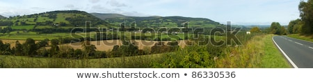 Panoramic view the Usk valley and A40 road in Wales UK. Stock photo © latent
