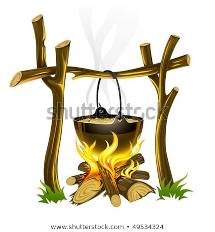 day touristic campfire and kettle with food Stock photo © LoopAll