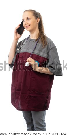 happy female doctor hanging on the phone stock photo © rob_stark