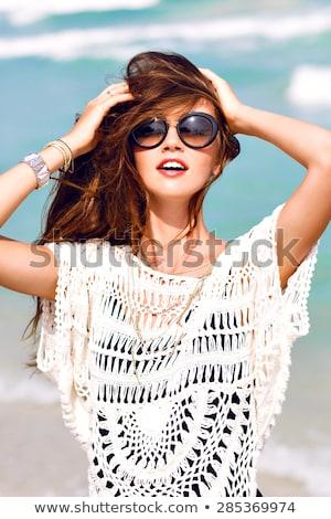 Portrait souriant beauté bleu eau piscine Photo stock © dash