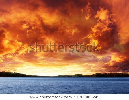 雲 · 湖 · 米国 · 青 · 白 · 地平線 - ストックフォト © emattil