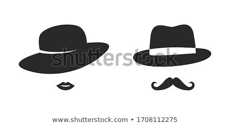 Dudaklar şapka Retro bağbozumu yüz model Stok fotoğraf © OleksandrO