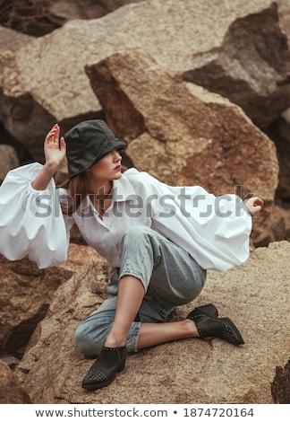 Aşırı high fashion güzellik görüntü kız gözler Stok fotoğraf © tobkatrina