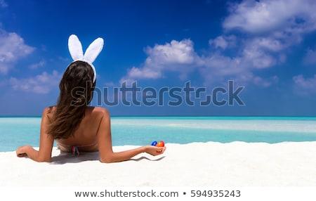 gülen · güzel · bir · kadın · tavşan · kulaklar · kafa - stok fotoğraf © feedough