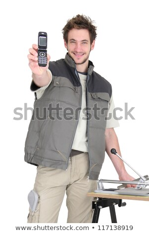 Tiler asking people to call him Stock photo © photography33