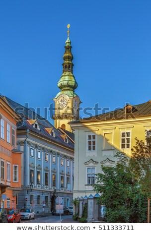 katholiek · kerk · klok · blauwe · hemel · Pasen · gebouw - stockfoto © jakatics