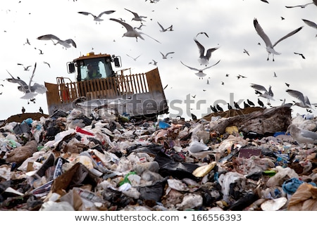 bulldozer and garbage truck working on a landfill site stock photo © rob300