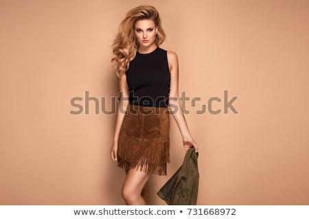 Mosolyog hosszú hajú szőke nő pózol szexi nő Stock fotó © dash