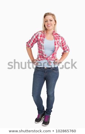 mosolygó · nő · kockás · póló · friss · kint - stock fotó © wavebreak_media