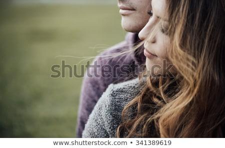 közelkép · portré · fiatal · csinos · gyönyörű · nő · ölel - stock fotó © get4net