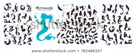 vetor · ícone · sereia · praia · mar · jogar - foto stock © zzve