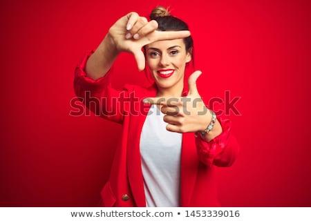 Gülen genç kadın çerçeve biçim Stok fotoğraf © pablocalvog