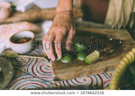 Női szakács öntet étel petrezselyem portré Stock fotó © wavebreak_media