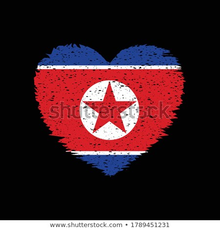 Vector heart with Korea flag texture isolated on a white. Stock photo © SolanD