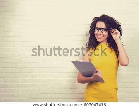 Foto stock: Mulher · amarelo · vestir · moda · espelho