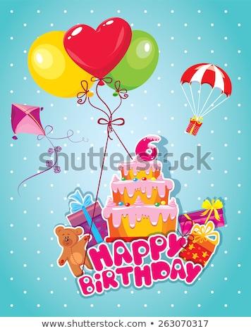 Stok fotoğraf: Doğum · günü · tebrik · kartı · oyuncak · ayı · büyük · hediye · kutusu · gülümseme