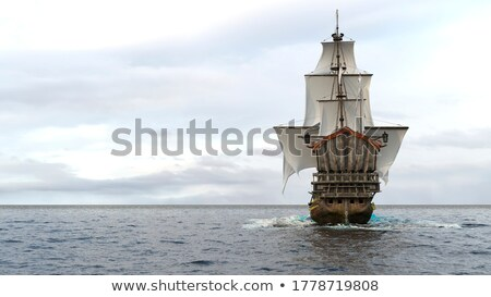 Velho batalha navio 3d render belo flutuante Foto stock © Elenarts