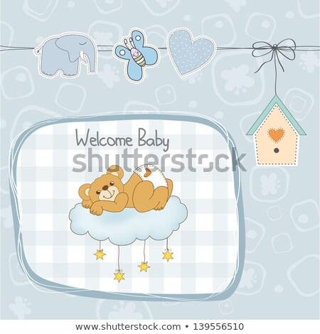 Bebek duş kart uykulu oyuncak ayı sevmek Stok fotoğraf © balasoiu