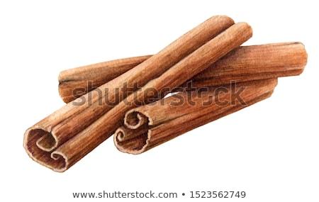 Cynamonu kory drewniany stół górę tabeli ciemne Zdjęcia stock © Marfot