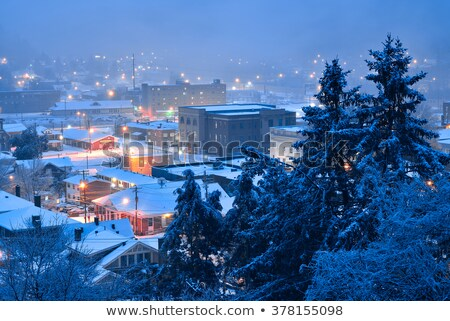 small town on the hill at night stock photo © rglinsky77