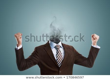 Túlhajszolt kiégés üzletember áll füst fej Stock fotó © hasloo
