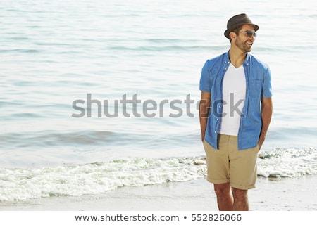 Adam plaj portre genç yakışıklı adam ahşap Stok fotoğraf © ivonnewierink
