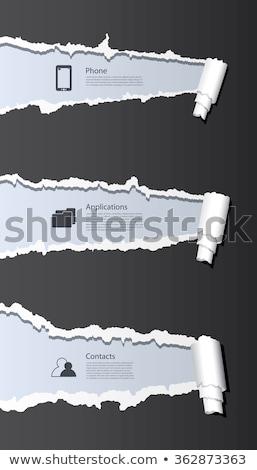 curiosidad · papel · rasgado · palabra · detrás · desgarrado · papel · de · estraza - foto stock © ivelin
