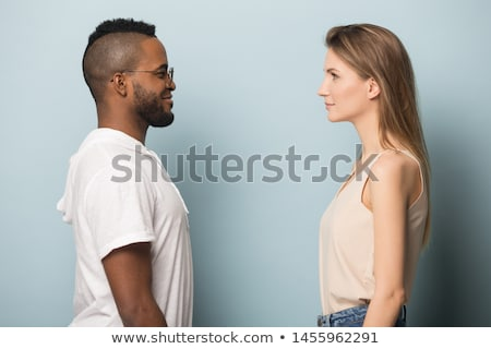 young couple stares in each others eyes stock photo © feedough
