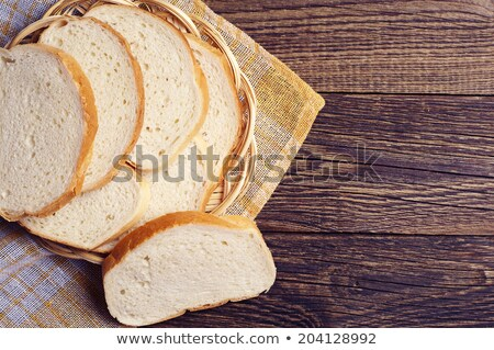 Sliced white bread on the yellow plate Stock photo © anmalkov