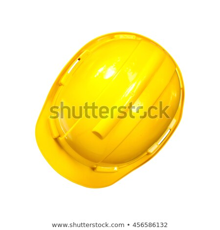 engineering concept safety helmet top view on white background stock photo © frameangel