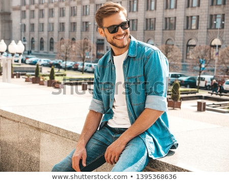 guapo · hombre · barba · chaqueta · empate · cara - foto stock © nejron