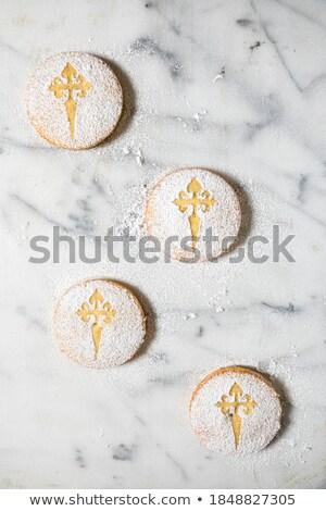 サンティアゴ 典型的な アーモンド パイ スペイン クローズアップ ストックフォト © nito