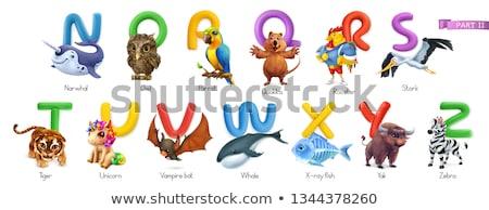 Alphabet Storch Gradienten Mesh Kinder Bau Stock foto © adamson