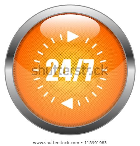 24 Hours Service Gold Vector Icon Button Stock photo © rizwanali3d