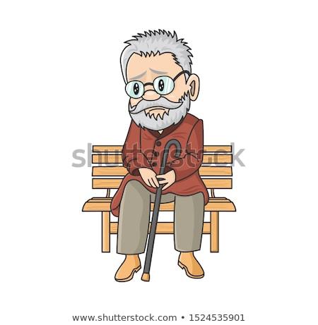 Komische cartoon eenzaam oude man retro Stockfoto © lineartestpilot