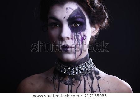 Gothic ekspresyjny dziewczyna ciemne kobieta twarz Zdjęcia stock © tobkatrina