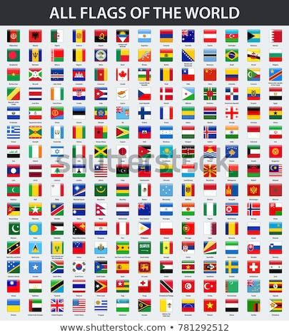 Vierkante icon vlag Portugal metaal frame Stockfoto © MikhailMishchenko